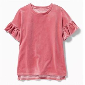 Old Navy Girl's Pink Velvet Ruffle Top